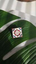 Enamel Pin Brooch Badge Square* Moroccan Tile Inspired Floral Flower Pink