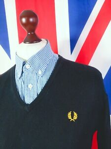 Fred Perry Knitted V-neck Jumper - XL - Black - Mod Casuals 60's