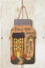 Mason Jar Shaped Wood Sign Jute Hanger Bless Our Home Saltbox House Primitive