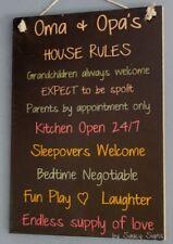 Oma Opa Grandparent House Rules Dutch German Black Love Kids Childrens Wall Sign