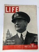 Vintage Life Magazine August 2, 1943 USS Hornet Sicily Invasion Artillery London