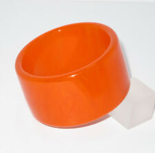 Vintage Bakelite Bracelet Bangle paprika orange marble extra wide shape