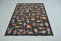 6'5 x 4'10 Modern Handwoven Afghan Wool Kilim Carpet Fish Kelim Area Rug #11581