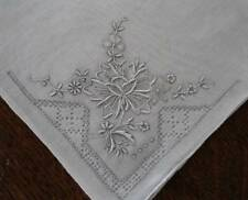 Vintage Lot 2 Madeira Silver Gray Hand Embroidered Hanky DrawnThread Floral Set