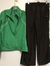 Reebok Size Small Pants Size Medium Jacket Black Green Design Warm Up Track Suit