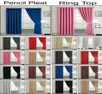 Ready Made Ring Top Eyelet Pencil Pleat Curtain Blackout  With Tiebacks All Size