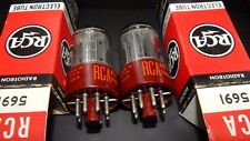 PERFECT NOS NIB RED BASE RCA PAIR 5691 / 6SL7GT / VT-229 / 6SL7 TUBES MADE 1965