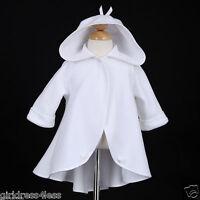 White Wedding Flower Girl Dress Jacket Coat Cape Bolero Shawl Hoodie 2 3 4 5 6