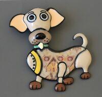 Adorable artistic  large  dog brooch enamel on metal