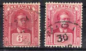 Sarawak Shade comparison  Pair SG.91 1928 6c Cancelled