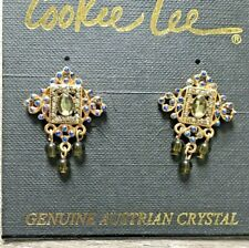 NWT Cookie Lee Earrings Bronze Hanging dangling Green Blue Genuine Crystal