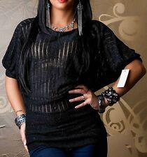 Sexy Miss señora kimono suéter top camisa brillo lurex 34/36/38 freesize negro
