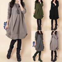 Women's Winter  Casual Long Sleeve Shirt Dress Autumn Loose Tunic Pullover Tops