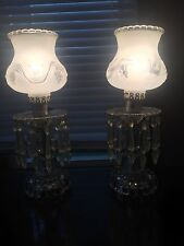 Vintage Crystal Victorian Boudoir Bedroom Vanity Lamps Lights w/ Prisms