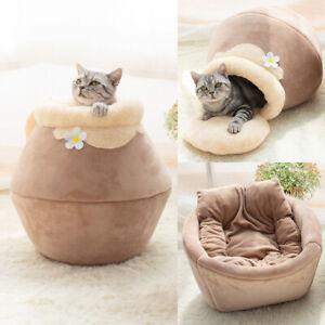 WINTER WARM CAT BED PLUSH SOFT PORTABLE FOLDABLE ROUND PET SLEEP CUSHION HOUSE