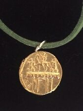 "Aureus Of Cladius Coin WC31 Gold Made From Pewter On 18"" Green Cord Necklace"