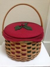 Longaberger 2003 Christmas Caroling Basket with lid, lid cover, protector, liner