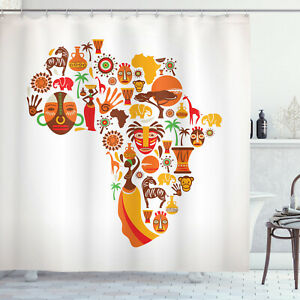 African Shower Curtain Map with Tribal Icons Print for Bathroom