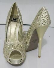 """new ladies beige/gold star 5.5""""highHeel 1.5""""hidden platform shoes size 10 p"""