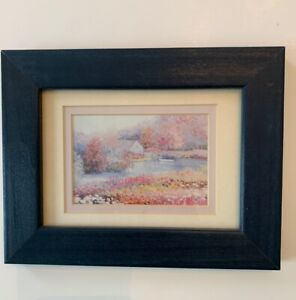 """Small Framed and Matted Pastel Watercolor Print in Navy Blue Frame 7 1/8"""" x 9 1/"""