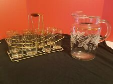 Vintage Mid Century 8 Glass Tumbler And Pitcher Set w Carrier