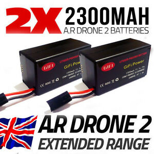 2 x 2300MaH Bigger Spare Upgrade Replacement Battery for Parrot AR Drone 2.0