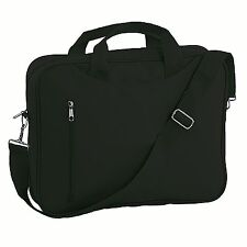 "Black 14"" Messenger Laptop Shoulder Bag Work College School Bike Office Courier"