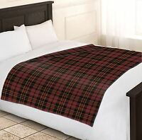 Soft Warm 150x200cm Double Brown & Wine Tartan Check Throw Bed Fleece Blanket