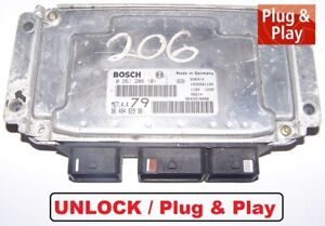 Steuergerät Peugeot 206 CC 1,6l 16V 80KW 0261208101 9648482980 ECU IMMO UNLOCK