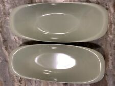 New listing Qty 2 Boontonware Melmac Pale Green Bread Dish Bowls Oval 609 Appx 14.25 X6