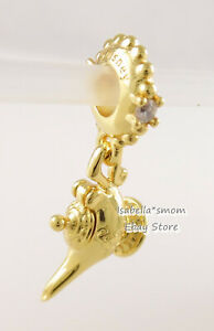 Disney Aladdin MAGIC LAMP Genuine PANDORA Yellow GOLD Plated Charm 768038CZ NEW!