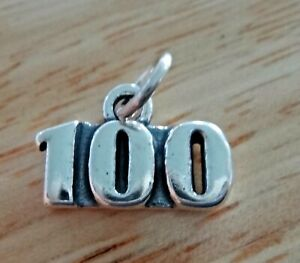 Sterling Silver 10x15mm Number 100 100th Birthday Anniversary Charm