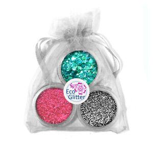 3 Genuine Biodegradable Glitters Incl 1 Chunky! Festival Bio Eco Gift Bag Kha