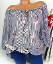 Bluse Carmen Italy Top Tunika Shirt Poncho Hippie doppellagig Flamingo  44 46