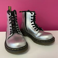 Dr. Martens Delany Girl's Boots Metallic Silver Shoes UK 12 Junior Lace Zip