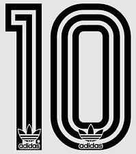 Década de 1980 Retro Adidas Nº 10 conjunto de nombre de fútbol para Nacional Camisa Negro O Blanco
