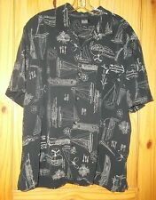 G.H. Bass & Co. Black Short Sleeve Silk Shirt w/ Maritime Motif, Mens XL