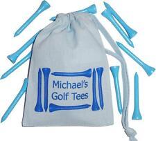BLUE - PERSONALISED - Golf Tees Bag & 10 Blue Golf Tees - Golfing / Golfer Gift