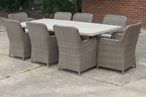 Melania - 7 or 9 Piece Outdoor Setting - Solid Reclaimed Teak - PE Wicker Chairs