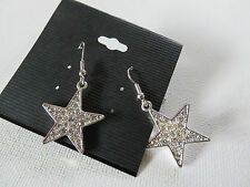SPARKLY SILVER DIAMANTE STAR DROP DANGLE EARRINGS 2.5 cm new gift pouch
