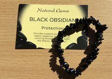 OSSIDIANA NERA cristallo braccialetto 16 cm INFO CHIP CARD PROTETTIVA Base Radice Chakra