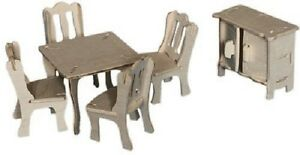 Dining Room Set: Woodcraft Construction Wooden Dolls House 3D Model Kit CX 703