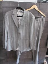 Etro gray wool striped men's suit size 50 made in Italy