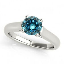 0.5 Carat Blue Diamond SI2 Solitaire Wedding Ring Stunning Deal 14k White Gold