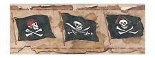 Pirate Pirates Flag Skull & Crossbones on Light Brown Wallpaper Border BT2812B