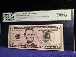 "2006 USA $5 FRN ""2010 CURRENCY 5TH ANNIVERSARY CLUB NOTE"" PCGS GEM 67PPQ"