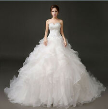 Custom White/Ivory Ball Gown Organza Wedding Dress Ruffles Applique Bridal Gown