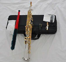 Top Silver gold Soprano Saxello Saxophone with High F G key Abalone shell key