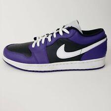 Air Jordan 1 Low Court Purple Size 10 White Black 553558-501 Basketball Shoes