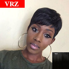 VRZ Human Hair Wigs Natural Short Black Cute Cut Wigs for Black Women Color 1B
